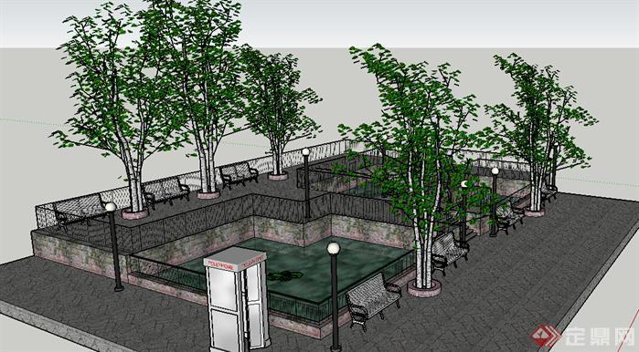 某公园休息区景观设计方案su模型