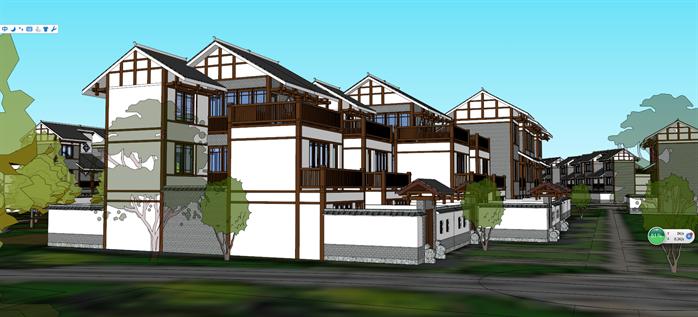 一套中式别墅群建筑规划设计su模型[原创]