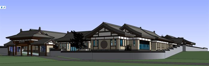 某中式院落办公群建筑设计方案效果图(3)
