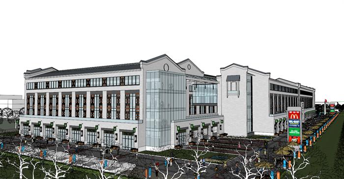 某个商业广场建筑su设计模型,该建筑风格为现代中式风格.