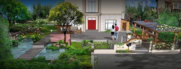 某现代庭院景观设计方案效果图 PSD格式