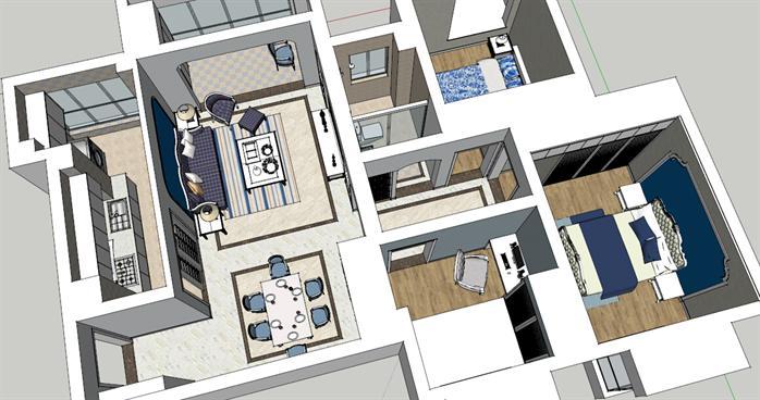 某现代风格住宅室内装修su设计模型[原创]