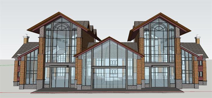 某英式风格售楼部建筑设计方案效果图(4)