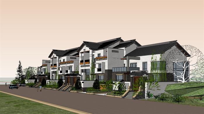 某中式联排别墅建筑设计方案su模型
