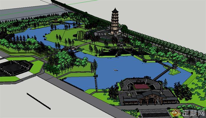 主题公园手绘平面效果图-某古典中式主题公园景观设计方案su模型
