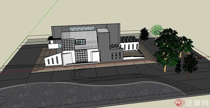 某餐饮茶室建筑方案设计SU模型(含CAD方案图),该模型设计的还是比较细致的,模型场景还是比较大的,供广大景观设计,园林设计人员参考用途.