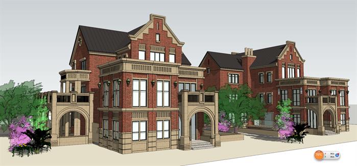 某英式三层独栋别墅建筑设计方案su模型[原创]