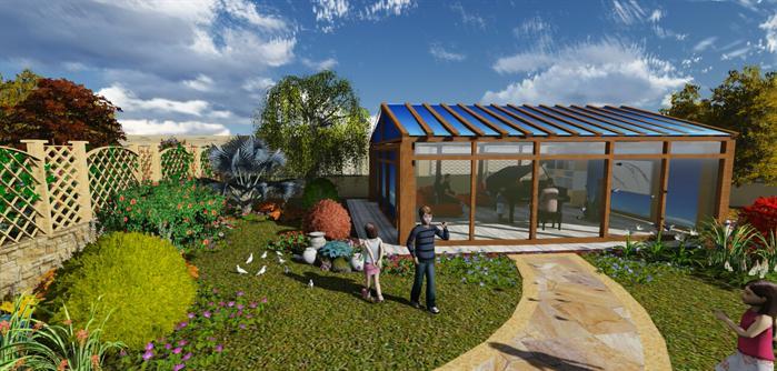 某欧式等个别墅庭院设计的效果图及su模型[原创]