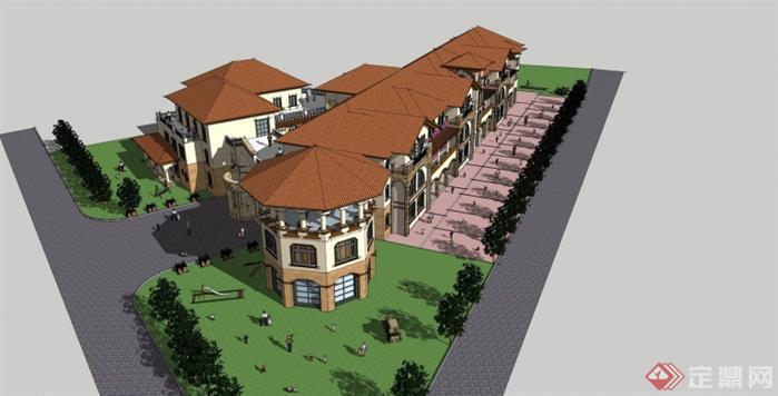 某地中海风格幼儿园建筑设计方案效果图(4)
