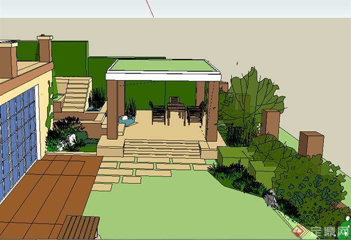 某别墅环境景观设计方案su模型[原创]
