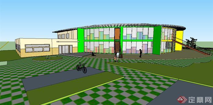 某现代幼儿园建筑设计方案su模型[原创]