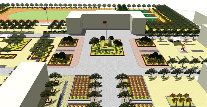 某现代风格校园景观规划方案设计su模型(含效果图)
