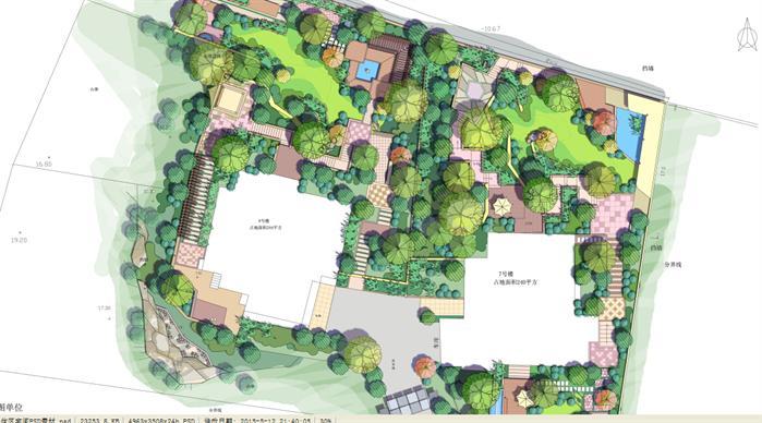 某手绘风格住宅区景观设计效果图 PSD分层素材
