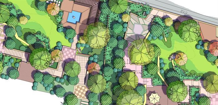 某手绘风格住宅区景观设计效果图(psd分层素材)[原创
