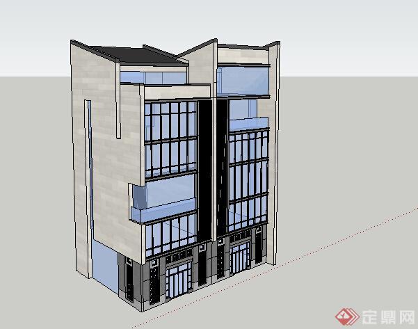 某新中式四层别墅建筑设计方案效果图(2)