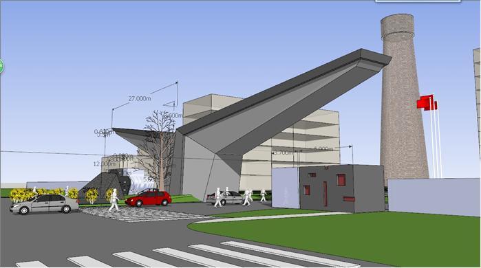 某现代风格工厂大门方案设计SU模型