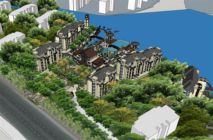 某高档欧式风格多层小区建筑方案设计su模型[原创]
