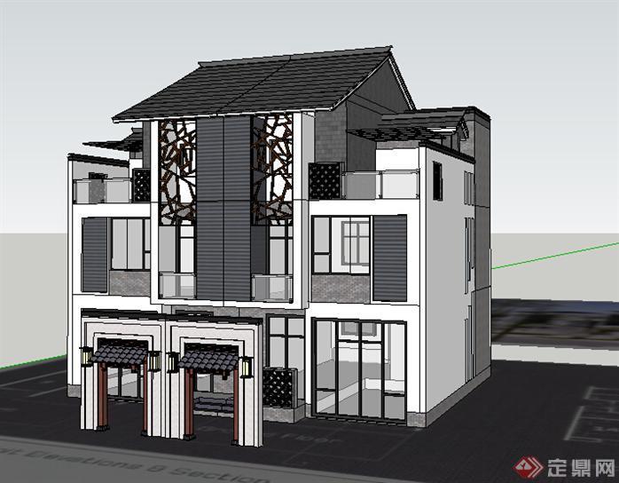 某中式联排别墅建筑设计方案