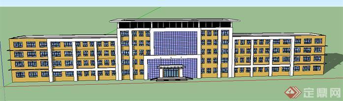 某现代教学楼建筑设计方案效果图(2)