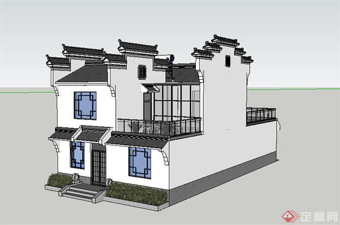 某徽派民居建筑设计方案效果图 2
