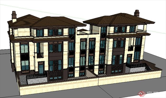 某古典中式风格别墅建筑方案设计su模型[原创]
