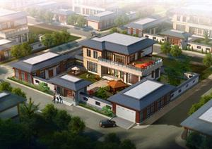 一套中國風四合院式別墅建筑設計SU模型
