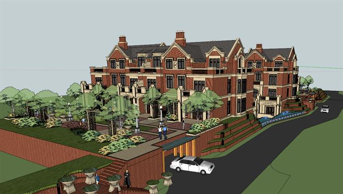 某英式机械四层别墅区建筑方案设计SU专业设计与制造这个风格怎么样图片