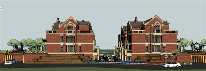 某英式风格四层别墅区建筑方案设计SU室内设计图tc图片