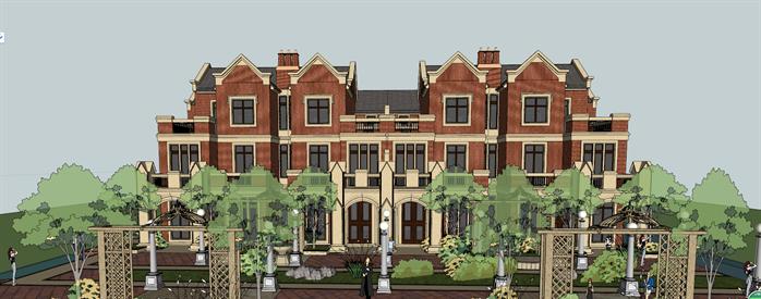 某英式屏保四层别墅区建筑方案设计SU设计教程3D风格图片