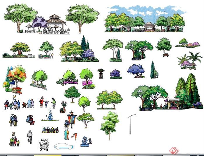 一些园林景观手绘植物psd素材