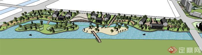某现代湖滨公园景观设计方案su模型