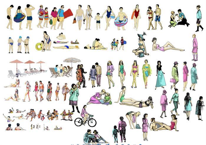 景观设计素材之手绘人物,集多种手绘人物,可用于效果图