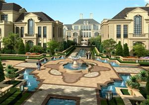 某欧式风格住宅区中央水景喷泉景观设计效果图psd格式图片