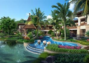 某东南亚风格酒店景观设计方案效果图(PSD格式)