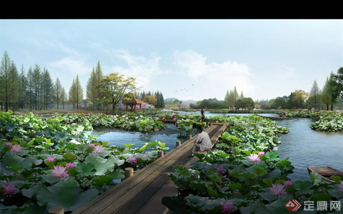 某古典中式滨水景观规划设计PSD分层效果图