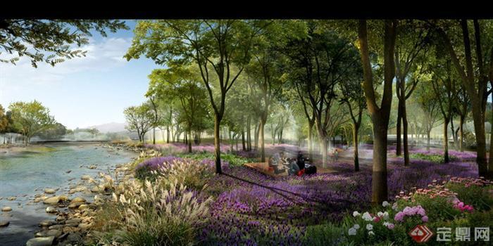某滨水景观规划设计PS分层效果图