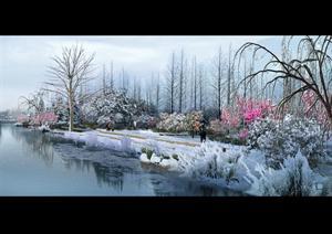 水景ps分层效果图 -临水景观ps设计素材下载