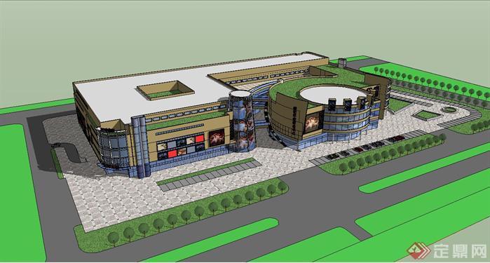 某商业中心建筑设计su模型-设计师图库