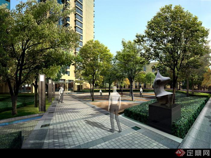 某现代风格居住区活动区域树阵广场景观设计P监察体制改革绘制图片