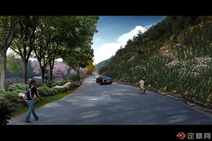 某现代风格道路花境景观规划设计效果图psd格式