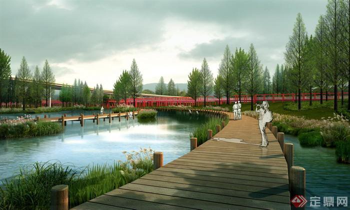 某滨水景观设计效果图psd分层素材