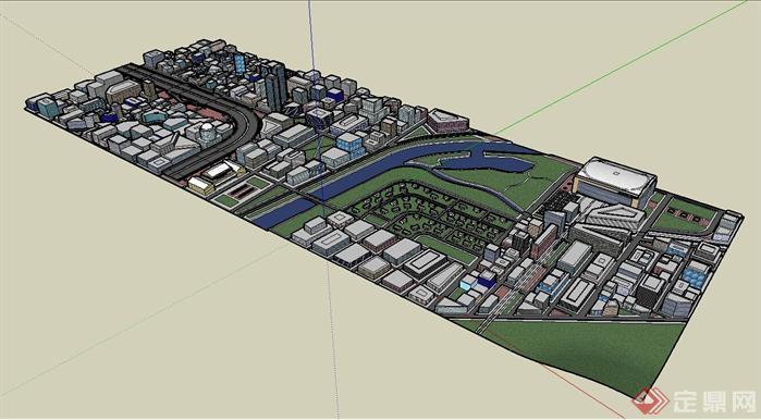 某城市商业综合体建筑规划su设计模型