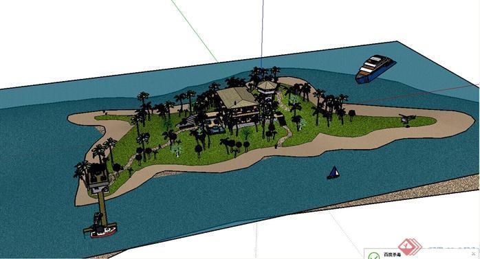 某现代风格滨水公园景观设计su模型