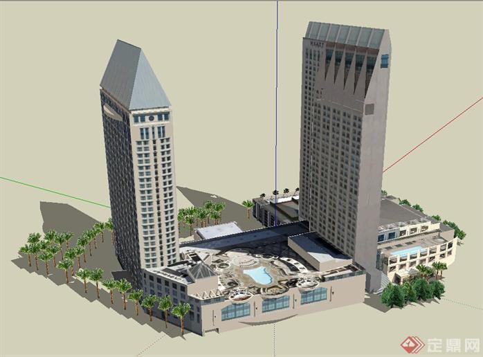 某现代商业综合体建筑设计方案 su 模型(1)