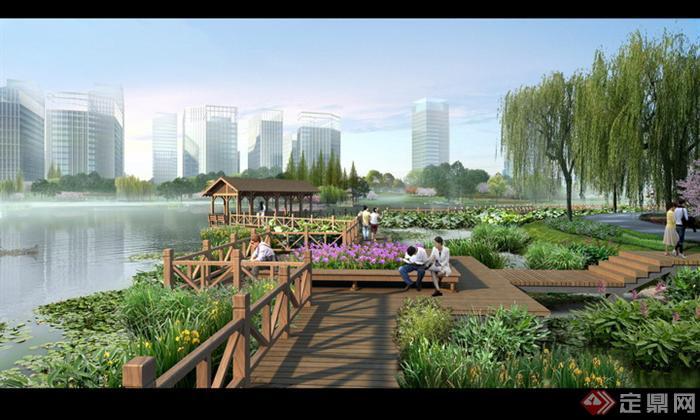 某现代风格湖泊公园木栈道景观设计效果图psd格式