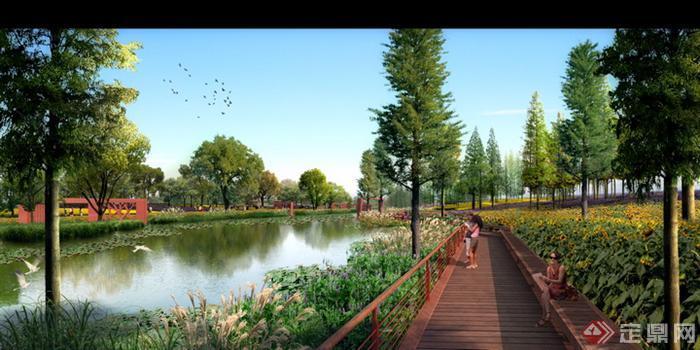 某现代滨水公园木栈道景观设计方案效果图