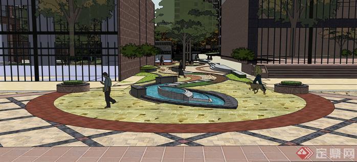 某现代风格大型居住小区景观规划设计su模型