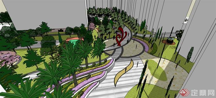 某现代住宅小区景观设计方案su模型(5)