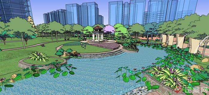 某现代风格住宅小区景观规划设计su模型