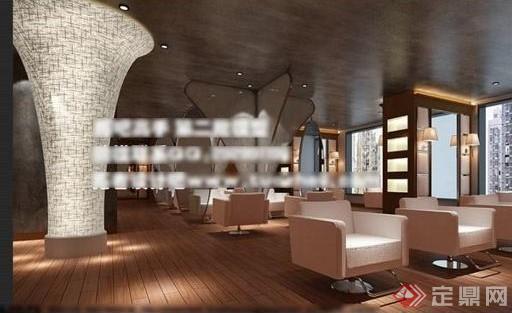 某现代风格发廊室内装饰设计3d模型